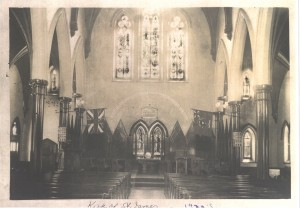 Following the 1931 reconfiguration of the church - the addition of a centre aisle.