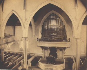 Original configuration with choir and minister placed on side where organ pipes are now situated.